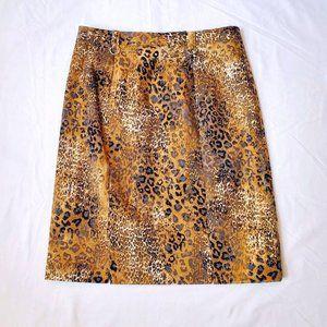 Simon Chang Leopard Print Denim Pencil Skirt